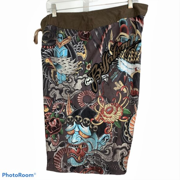 Billabong Other - BILLABONG Mens 36 Brown Board Shorts Skulls Eagle